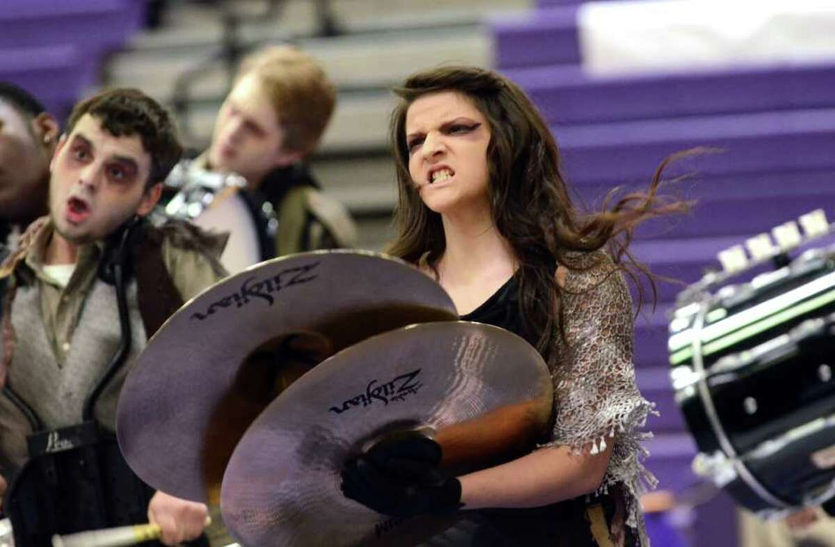 Westhill High School sophomore Whitney Cassell competes during the Second Annual Indoor Percussion and Winter Guard Competition hosted by the Westhill Indoor Percussion Ensemble at Westhill High School on Saturday, Mar. 17, 2012.