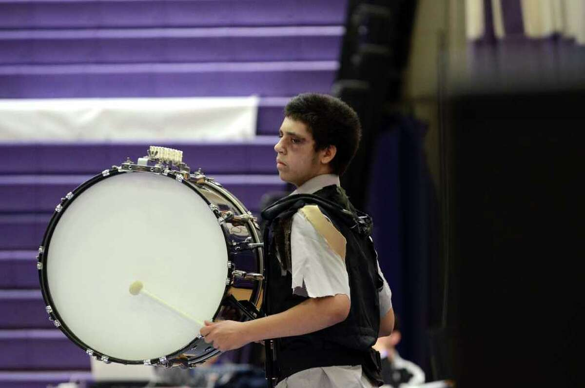 Westhill High School competes during the Second Annual Indoor Percussion and Winter Guard Competition hosted by the Westhill Indoor Percussion Ensemble at Westhill High School on Saturday, Mar. 17, 2012.