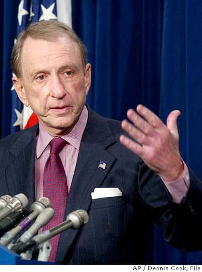 Senate Judiciary Committee Chairman Sen. Arlen Specter, R-Pa., discusses conference committee action on the during a news conference on Capitol Hill Thursday, Dec. 8, 2005 in Washington. (AP Photo/Dennis Cook) Photo: DENNIS COOK