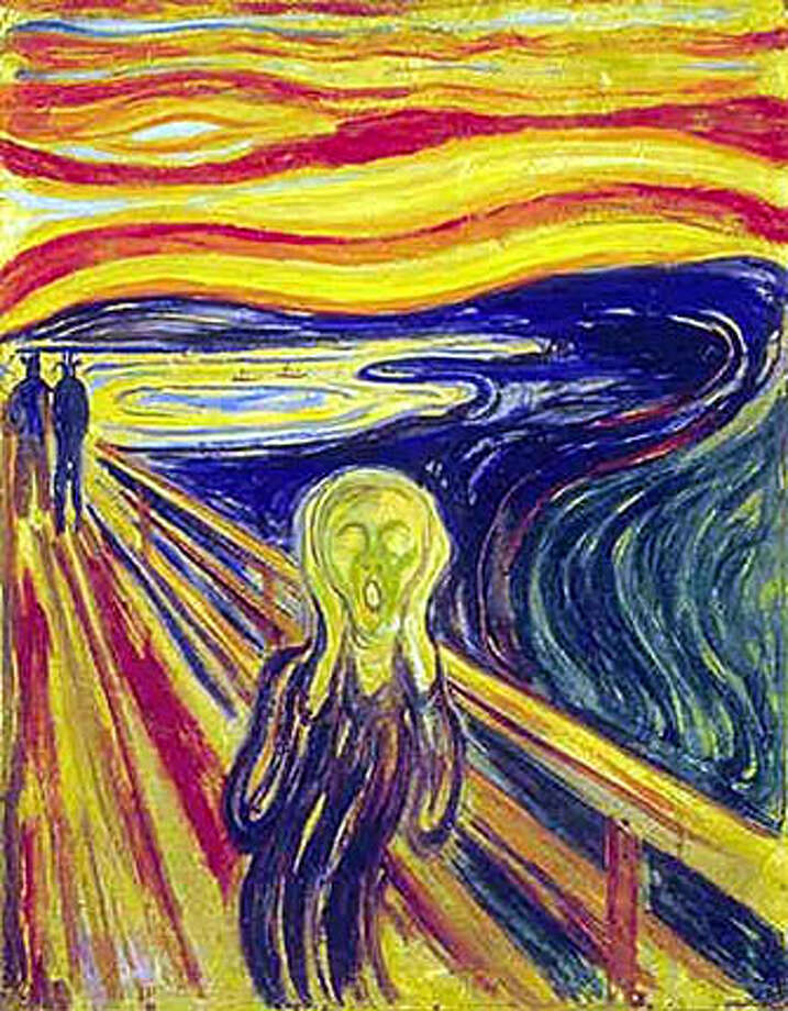 "(NYT49) UNDATED -- August 22, 2004 -- NORWAY-STOLEN-PAINTINGS -- ""The Scream,"" by Edvard Munch, 1893. Armed robbers stole ""The Scream'' and another masterpiece by Norwegian artist Edvard Munch on Sunday, August 22, 2004, in a bold daytime raid on an Oslo museum in front of dozens of terrified tourists. (Munch Museum/The New York Times)**ONLY FOR USE WITH STORY BY WALTER GIBBS SLUGGED: NORWAY-STOLEN-PAINTINGS. ALL OTHER USE PROHIBITED. Ran on: 08-23-2004 Ran on: 08-23-2004 XNYZ Photo: Munch Museum"