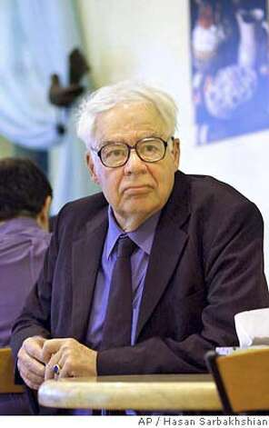 "American philosopher Richard Rorty who is based at Stanford University, CA, USA, sits before his address entitled ""philosophy and democracy"" in Tehran, Iran, on Saturday June 12, 2004. Rorty, arrived here on Friday for three days lecture visit. (AP Photo/Hasan Sarbakhshian) Photo: HASAN SARBAKHSHIAN"