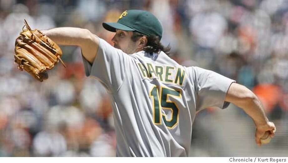 The A's Starting pitcher Dan Haren.  Oakland Athletics Vs. San Francisco Giants at AT&T Park.  SATURDAY, JUNE 9, 2007 KURT ROGERS SAN FRANCISCO SFC  THE CHRONICLE GIANTS_0038_kr.jpg MANDATORY CREDIT FOR PHOTOG AND SF CHRONICLE / NO SALES-MAGS OUT Photo: KURT ROGERS