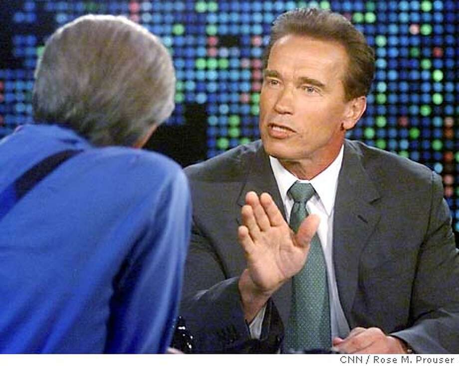 "Actor Arnold Schwarzenegger, right, Republican candidate for governor of California in the Oct. 7 recall election, is interviewed by talk show host Larry King during a taping of the CNN program ""Larry King Live,"" Wednesday, Sept. 17, 2003, in Los Angeles. Schwarzenegger discussed his campaign in the interview which will be telecast on Wednesday. (AP Photo/CNN / Rose M. Prouser) Photo: ROSE M PROUSER"