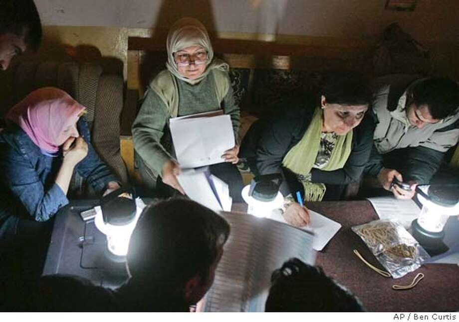 Electoral workers count ballot papers by lamplight for the Iraqi parliamentary elections, which will select a National Assembly that will serve for four years, at a counting center in Mosul in northern Iraq Thursday, Dec. 15, 2005. (AP Photo/Ben Curtis) Photo: BEN CURTIS