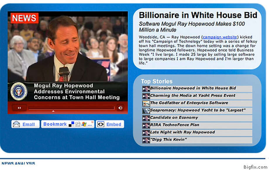 Emeryville software firm Bigfix is grabbing attention in the online word through a viral advertising campaign where they mock the software industry by running a fake presidential campaign. Screen grab of the Web site. Bigfix.com Photo: Handout