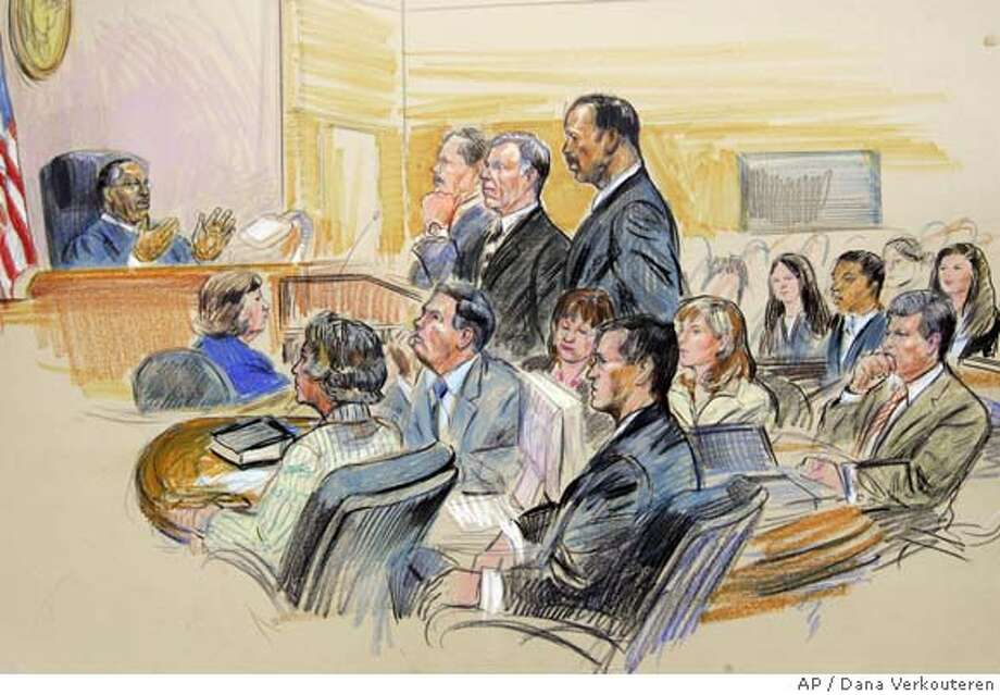 "This artist rendering shows former White House aide I. Lewis ""Scooter"" Libby, standing, center, flanked by his attorneys Theodore Wells, right, and William Jeffress, Jr., left, before U.S District Judge Reggie Walton, far left, during Libby's sentencing hearing, Tuesday, June 5, 2007, in federal court in Washington. Special Prosecutor Patrick Fitzpatrick is seated in front of Libby. (AP Photo/Dana Verkouteren) ARTIST RENDERING Photo: Dana Verkouteren"