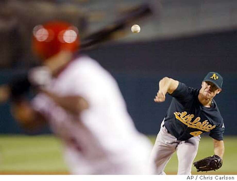 Oakland Athletics starting pitcher Rich Harden throws to Anaheim Angels' Chone Figgins during the first inning at Edison Field in Anaheim, Calif., on Tuesday, Sept. 16, 2003. (AP Photo/Chris Carlson) Photo: CHRIS CARLSON