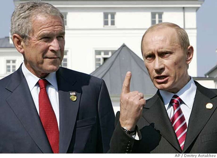 U.S. President George W. Bush, left, and Russian President Vladimir Putin seen after their meeting at the G8 Summit in Heiligendamm, Germany, Thursday, June 7, 2007. (AP Photo/RIA-Novosti, Presidential Press Service, Dmitry Astakhov) Photo: DMITRY ASTAKHOV