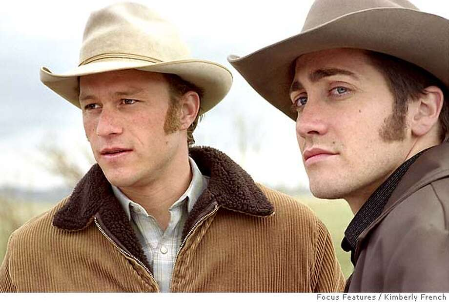 "In this photo provided by Focus Features, Ennis Del Mar( Heath Ledger,left) and Jack Twist (Jake Gyllenhaal) are two cowboys from very different backgrounds who meet and fall in love while working together in ""Brokeback Mountain."" (AP Photo/ Focus Features/ Kimberly French) Photo: KIMBERLY FRENCH"