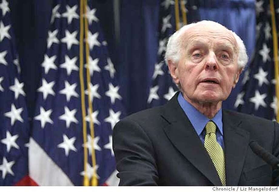 Representative Tom Lantos, D-San Mateo, appearing with Speaker Nancy Pelosi, speaks to the media about their recent trip to the Mideast on April 10th, 2007 at the Federal Building in San Francisco.  Liz Mangelsdorf/ The Chronicle Photo: Liz Mangelsdorf