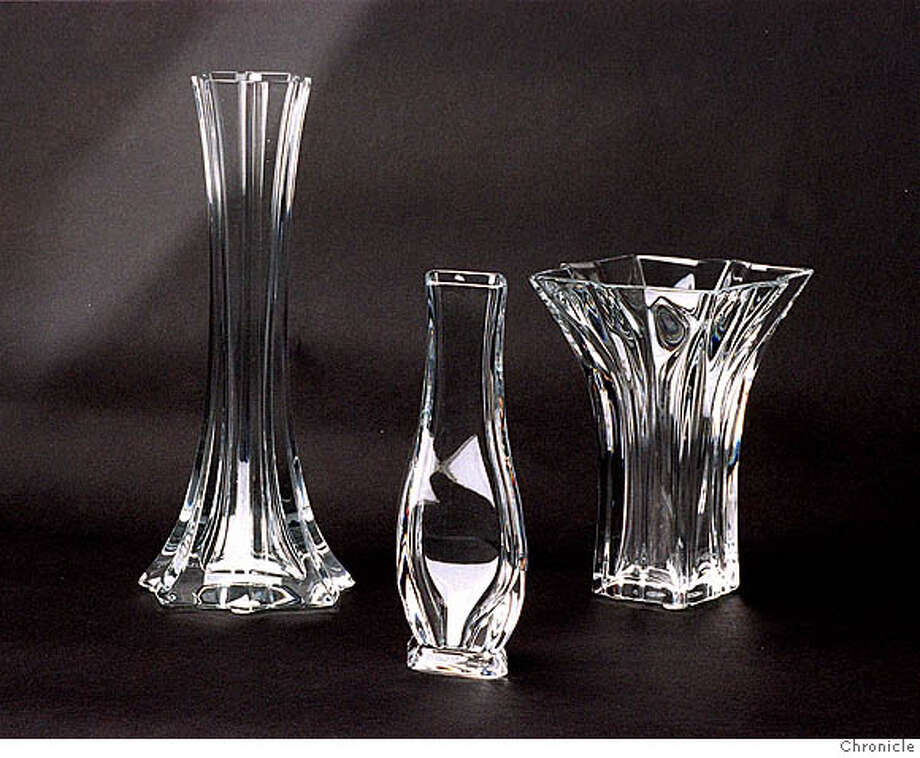 CHEAP 8/C/20MAR96/HM/VM. Baccarat crystal vases froom Gump's ($140 to $195) CAT Photo: VINCE MAGGIORA