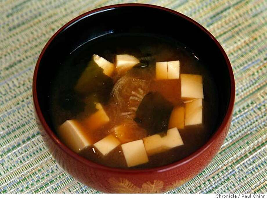 Tofu miso soup at the home of Keiko and Toshio Sakuma, manager and executive chef of Kaygetsu restaurant, in Belmont, Calif. on Monday, February 19, 2007.  PAUL CHINN/The Chronicle  **Keiko and Toshio Sakuma MANDATORY CREDIT FOR PHOTOGRAPHER AND S.F. CHRONICLE/NO SALES - MAGS OUT Photo: PAUL CHINN