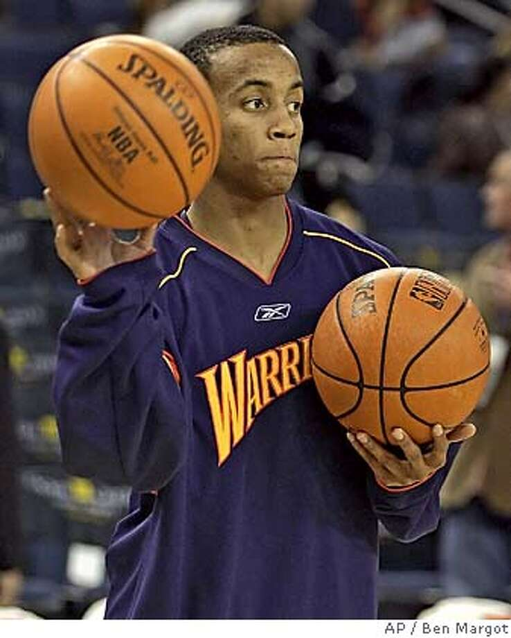 Golden State Warriors' Monta Ellis warms up prior to the game with the Detroit Pistons on Friday, Dec. 9, 2005, in Oakland, Calif. (AP Photo/Ben Margot) EFE OUT Photo: BEN MARGOT