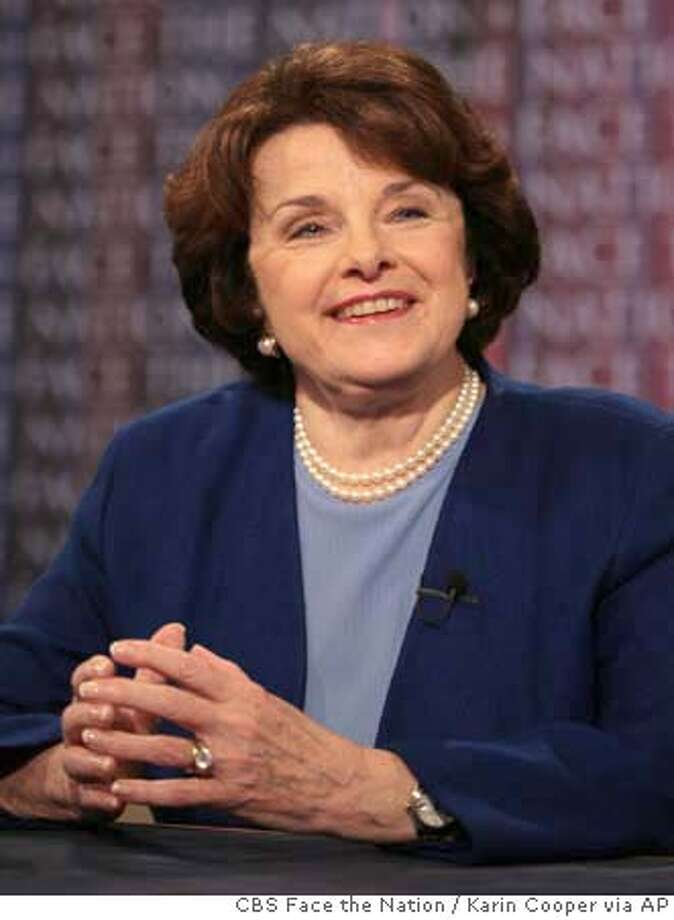 "In this photo provided by CBS, Sen. Dianne Feinstein appears on CBS's ""Face the Nation"" in Washington, Sunday, May 20, 2007. (AP Photo/CBS Face the Nation, Karin Cooper) ** MANDATORY CREDIT: FACE THE NATION, KARIN COOPER NO SALES NO ARCHIVE ** MANDATORY CREDIT: FACE THE NATION, KARIN COOPER NO SALES NO ARCHIVE, NO SALES Photo: KARIN COOPER"