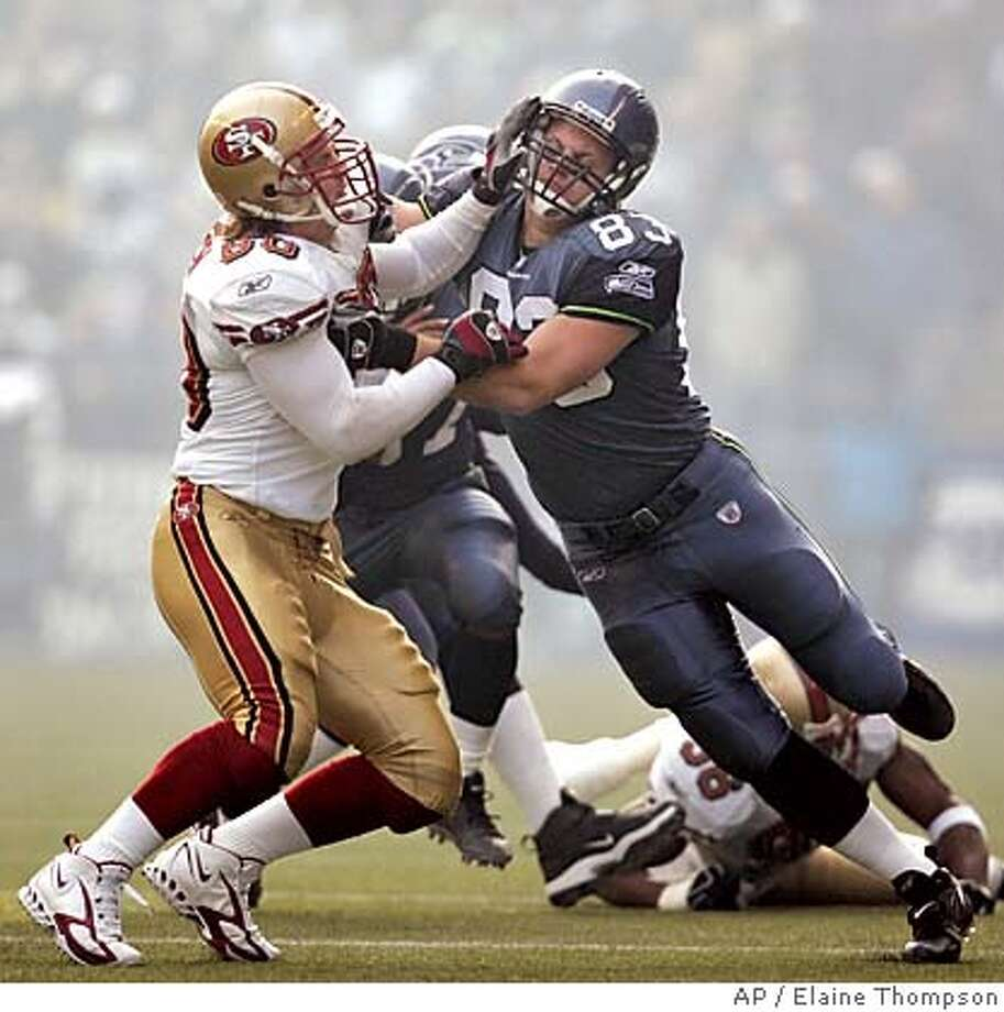 San Francisco 49ers' Derek Smith, left, and Seattle Seahawks' Ryan Hannam collide during a play in the first half, Sunday, Dec. 11, 2005, in Seattle. The Seahawks won, 41-3. (AP Photo/Elaine Thompson) Photo: ELAINE THOMPSON