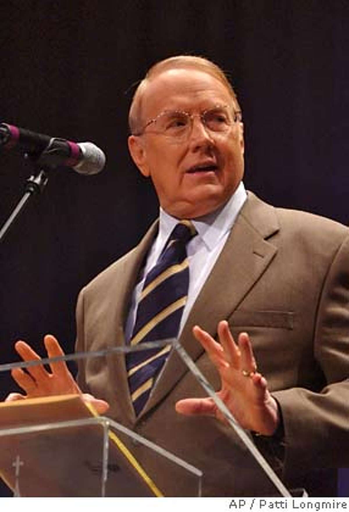** FILE ** Dr. James Dobson, Founder of the Focus on the Family, talks in this April 24, 2005 file photo, in Louisville, Ky. Leaders of four anti-abortion groups have accused Dobson of misrepresenting a Supreme Court decision that upheld a ban on a controversial abortion technique. In a full-page ad, Wednesday, May 23, 2007, editions of The Gazette newspaper in Colorado Springs, the group said Dobson wrongly characterized the court's April ruling as a victory for abortion foes. (AP Photo/Patti Longmire) ** APRIL 24, 2005 FILE PHOTO**