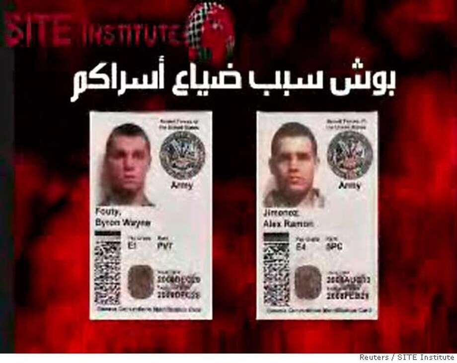 A video grab from footage obtained by the SITE Institute shows the U.S. Army identification cards of Byron Fouty and Alex Jimenez. An al Qaeda-led group in Iraq signalled in a Web video on June 4, 2007 that it had killed three U.S. soldiers after capturing them last month, showing only pictures of ID cards of two missing U.S. soldiers. The video, posted on Web sites often used by al Qaeda and other Islamists, did not provide clear evidence that the two were dead. The U.S. military has carried out an intensive search and found the body of one of the three U.S. soldiers missing after an attack south of Baghdad last month. REUTERS/SITE Institute/Handout (IRAQ). EDITORIAL USE ONLY. NOT FOR SALE FOR MARKETING OR ADVERTISING CAMPAIGNS. NO ARCHIVES. NO SALES. EUO NARCH NOSALES Photo: HO