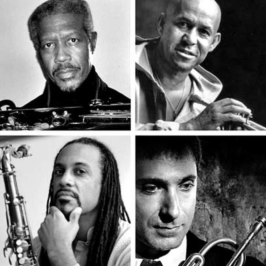 The Cookers' horn players consist of (clockwise from top left) Billy Harper, Eddie Henderson, David Weiss and Craig Handy.