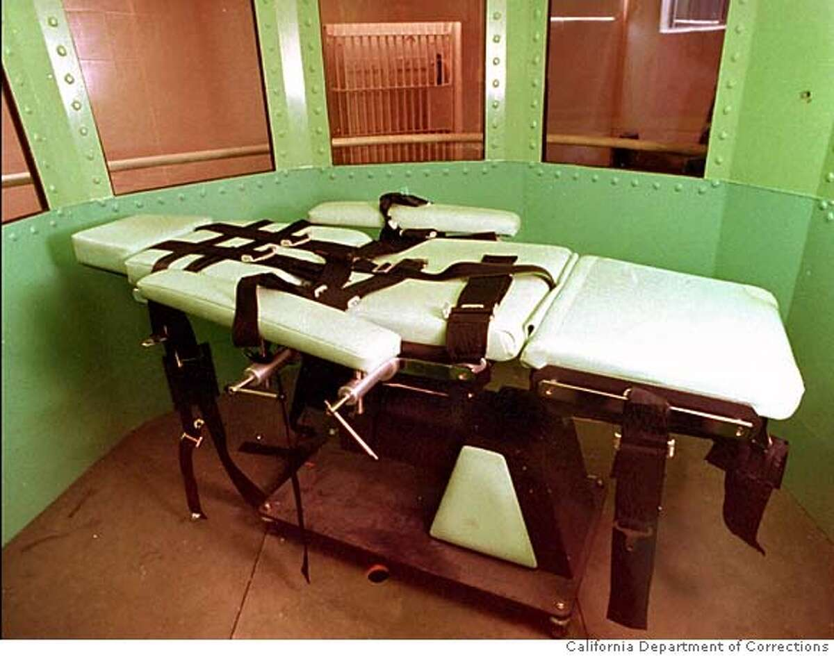 """This is a California Department of Corrections photograph, taken January 1996, showing the lethal Injection table in the execution chamber at California's San Quentin Prison. At 12:01 a.m. Friday, Feb. 23, 1996, William Bonin, known as the """"Freeway Killer"""", is scheduled to be executed for the murder of 14 young boys. (AP Photo/Calif. Dept. of Corrections.) JANUARY 1996 HANDOUT PHOTO"""