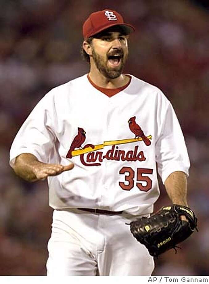 St. Louis Cardinals Matt Morris celebrates after the third out in the eighth inning against the Boston Red Sox Monday, June 6, 2005 at Busch Stadium in St. Louis. Morris pitche a complete game , giving up only one run on four hits, as the Cardinals beat the Red Sox 7-1.(AP photo/Tom Gannam) Ran on: 06-07-2005 Ran on: 06-07-2005 Ran on: 11-12-2005  Matt Morris has enjoyed success in the past with Mike Matheny as his catcher. Ran on: 11-12-2005  Former FBI agent Coleen Rowley Ran on: 11-12-2005  Former FBI agent Coleen Rowley Photo: TOM GANNAM