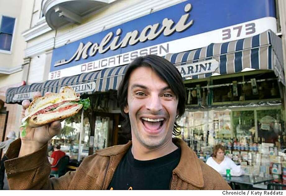 ONTHETOWN_PABLO_004_RAD.JPG On the town with Pablo d'Antoni, an acclaimed painter, with a Masters from the San Francisco Art Institute. He exhibited at Gen Art's 8th Annual Emerge exhibit. We photograph D'Antoni at Molinari's Delicatessen on Columbus Ave. in North Beach, San Francisco, with a Parma proscuitto sandwich. Photo taken on 11/16/05, in SAN FRANCISCO, CA.  By Katy Raddatz / The San Francisco Chronicle MANDATORY CREDIT FOR PHOTOG AND SF CHRONICLE/ -MAGS OUT Photo: Katy Raddatz