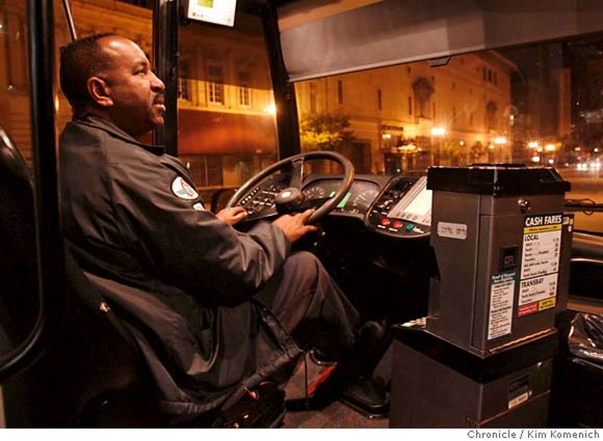 NIGHTOWL_059_KK.JPG Driver Tim Davis had been on a shift where he drives swings shift four days and drives AC Transit's all-night 800 line, the