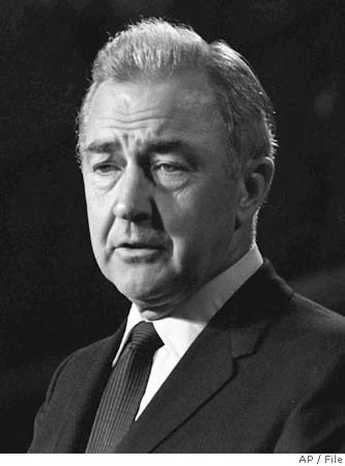 ** FILE ** Presidential candidate Sen. Eugene McCarthy, D-Minn., discusses his defeat in this Aug. 29, 1968, file photo. McCarthy, whose insurgent campaign toppled a sitting president in 1968 and forced the Democratic Party to take seriously his message against the Vietnam War, died Saturday, Dec. 10, 2005. He was 89. (AP Photo/file) Ran on: 12-11-2005  Eugene McCarthy challenged an incumbent president on an unpopular foreign war. Photo: File