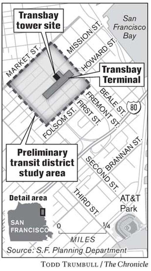 Transbay Tower Site. Chronicle photo by Todd Trumbull