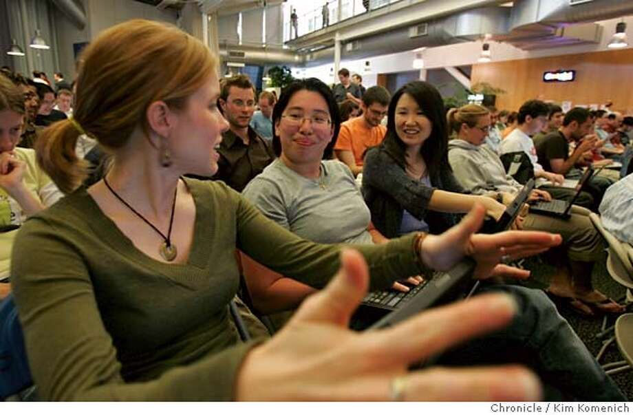 EDWARDS_076_KK.JPG  L to R, Maureen Feeny, Cristine Wu and Koon Chow are are among the Google employees in the audience as Presidential candidate John Edwards holds a town hall meeting at the Google campus in Mountain View Wednesday.  Photo by Kim Komenich/The Chronicle  **Maureen Feeny, Christine Wu, Koon Chow. �2007, San Francisco Chronicle/ Kim Komenich  MANDATORY CREDIT FOR PHOTOG AND SAN FRANCISCO CHRONICLE. NO SALES- MAGS OUT. Photo: Kim Komenich