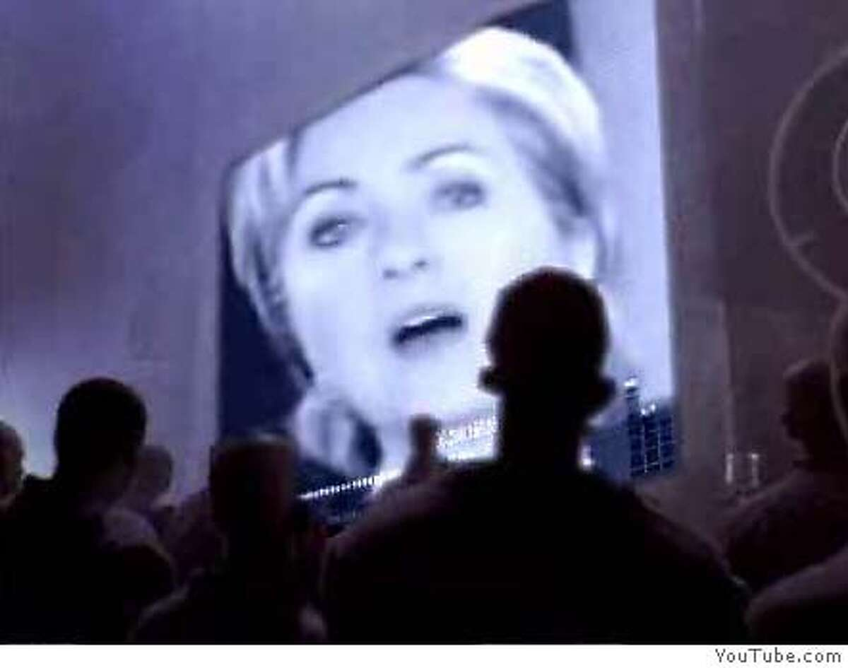 """� Frame grab from YouTube.com showing the """"Hillary 1984"""" video, which transforms an old Apple TV commercial into an ad touting Barack Obama's presidential campaign. COURTESY YOUTUBE Ran on: 03-20-2007 Images from YouTube.com show the Hillary 1984 video, which transforms an old Apple TV commercial introducing the Macintosh computer during the 1984 Super Bowl into an ad touting Barack Obama's campaign. Ran on: 03-20-2007 Images from YouTube.com show the Hillary 1984 video, which transforms an old Apple TV commercial introducing the Macintosh computer during the 1984 Super Bowl into an ad touting Barack Obama's campaign. ALSO Ran on: 03-22-2007 Sen. Hillary Rodham Clinton appears in the video on YouTube.com that remade an old Apple commercial into an ad touting Barack Obama's campaign. Ran on: 03-22-2007 Sen. Hillary Rodham Clinton appears in the video on YouTube.com that remade an old Apple commercial into an ad touting Barack Obama's campaign."""