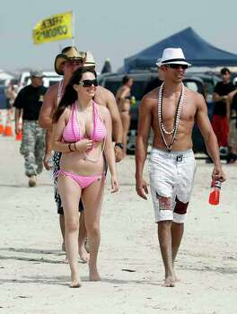 Spring breakers hit the beach Wednesday, March 14, 2012 at J.P. Luby Park in Corpus Christi, Texas. (AP Photo/Corpus Christi Caller-Times, Michael Zamora) Photo: Michael Zamora, Associated Press / Corpus Christi Caller-Times