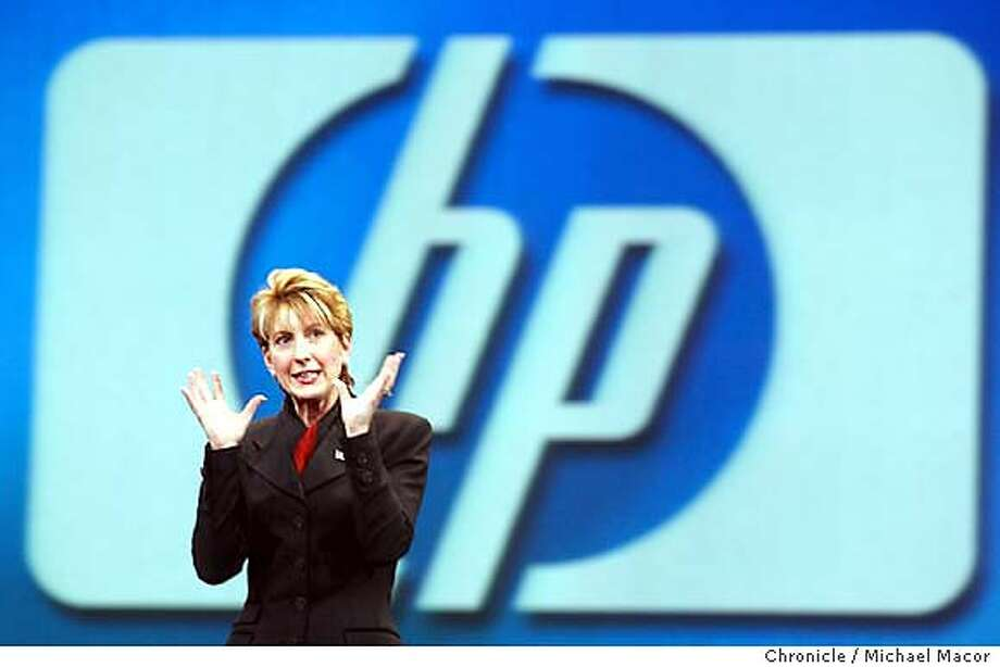 """Hewlett-Packard CEO, Carly Fiorina delivers the keynote speech at the """"OracleWorld"""" conference at Moscone Center.  9/11/03 in San Francisco. MICHAEL MACOR / The Chronicle Photo: MICHAEL MACOR"""