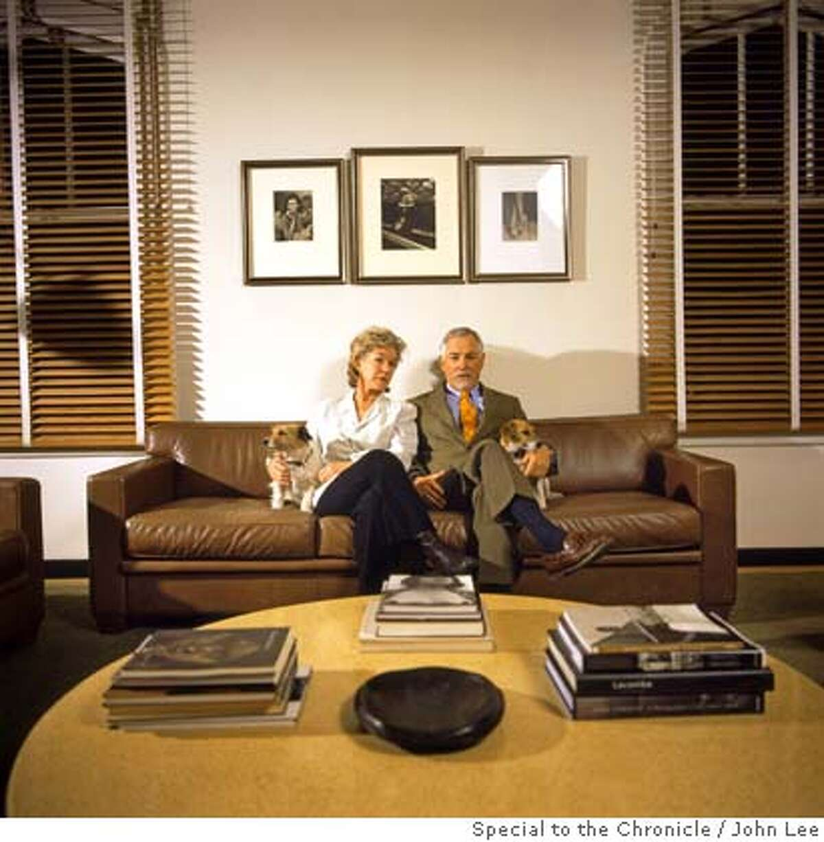 2500STEINER_BUELLS03JOHNLEE.JPG Susie Tompkins Buell, left, and he husband Mark Buell, sitting with their two dogs in the living room of their 12th floor penthouse condo at 2500 Steiner in San Francisco's Pacific Heights. For Sam Whiting story on 2500 Steiner. By JOHN LEE/SPECIAL TO THE CHRONICLE