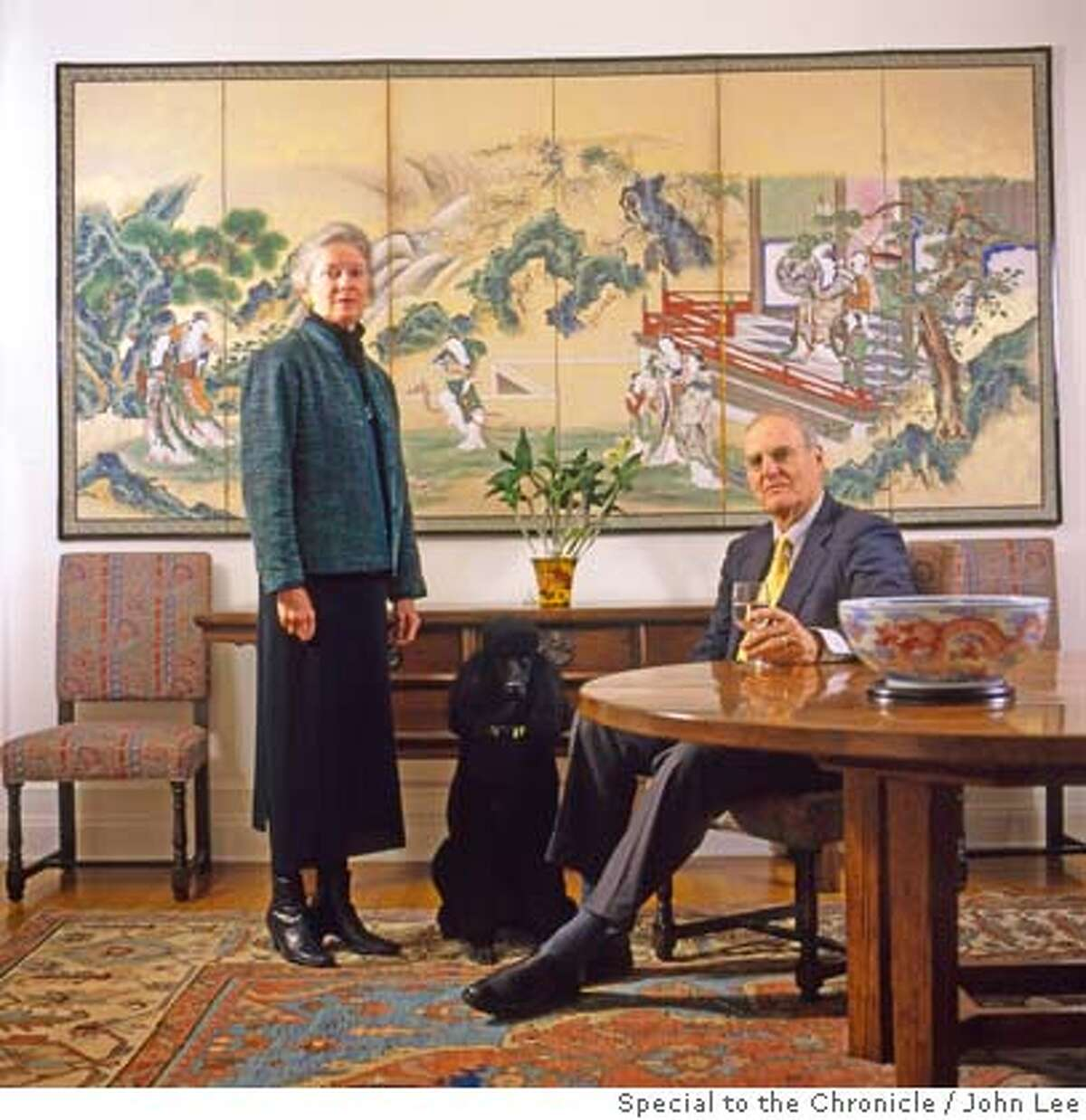 � 2500STEINER_HAMBRECHTS02JOHNLEE.JPG Sally and Bill Hambrecht, with their dog Lulu, in the dining room of their condo at 2500 Steiner in San Francisco's Pacific Heights. For Sam Whiting story on 2500 Steiner. By JOHN LEE/SPECIAL TO THE CHRONICLE