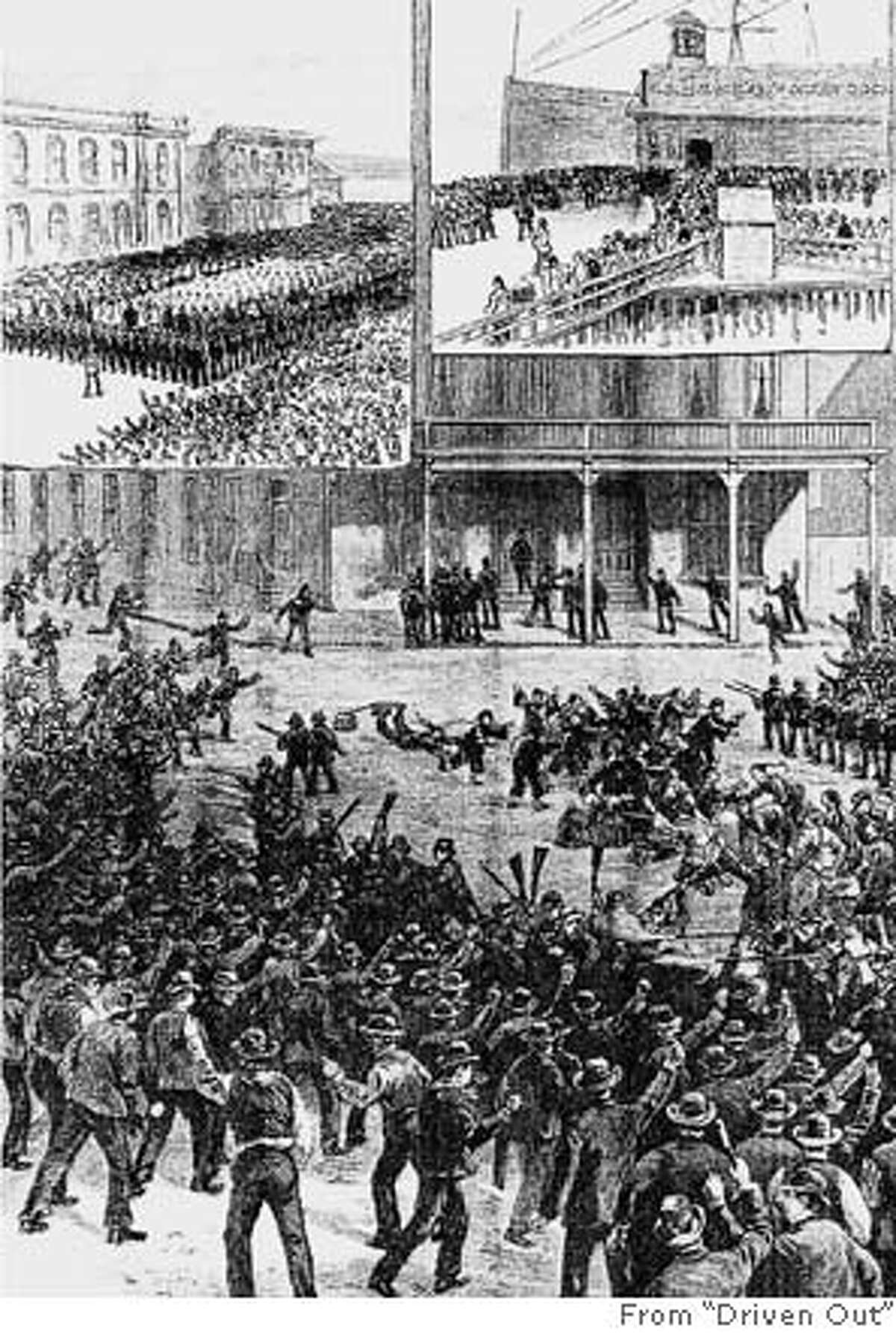 An anti-Chinese riot in Seattle, from Harper�s Weekly, March 6, 1886. Photo from