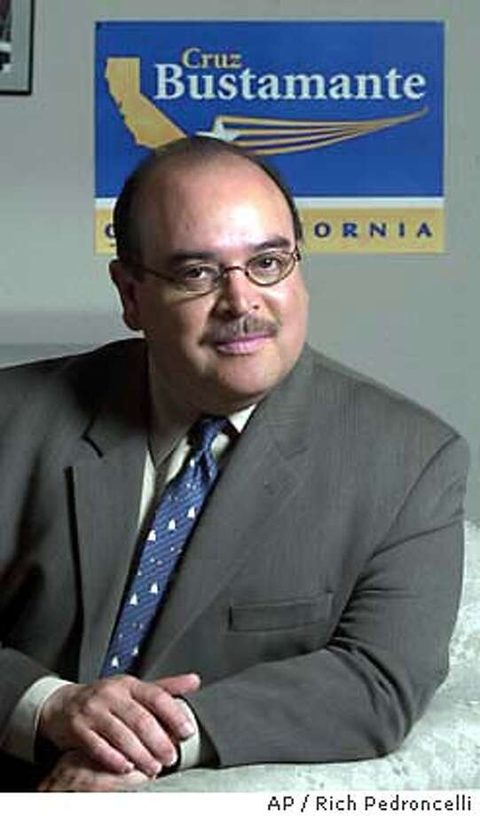 Lt. Gov. Cruz Bustamante poses after an interview with the Associated Press in Sacramento,Calif., Saturday, Aug. 23, 2003. Bustamante, a quiet moderate, was the first Hispanic statewide official since the 1870's when he was elected Lt. Governor in 1998, is now the Democrats's best hope to hold the governor's office if Gov. Gray Daivs is recalled.(AP Photo/Rich Pedroncelli) Photo: RICH PEDRONCELLI