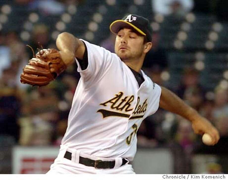 9/10/03 in Oakland.  Ted Lilly pitched through the 5th inning.  Athletics vs. Anaheim at the Coliseum. KIM KOMENICH / The Chronicle Photo: KIM KOMENICH