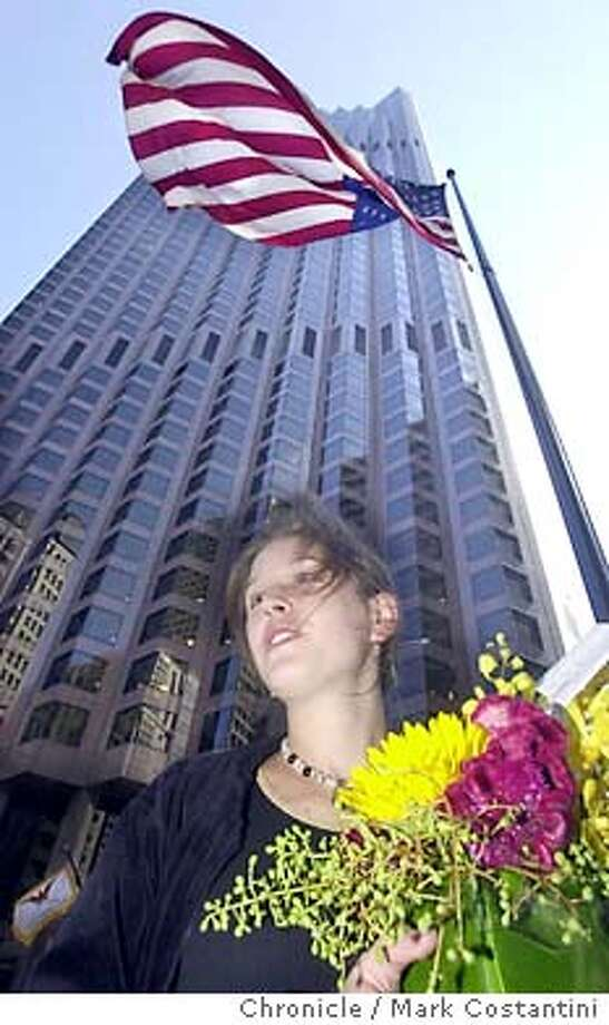 mood11_0053.JPG (cq) Davis, who works in the building as a florist shares her concern.  At the large downtown buiding on California Street between Kearny and Montgomery Streets which was Bank of America World Headquarters, we talk to people about their thoughts on the World Trade Center attacks. MARK COSTANTINI / The Chronicle Photo: MARK COSTANTINI