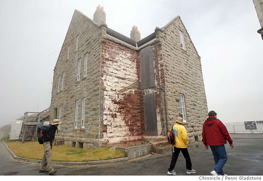 POINTSURLIGHTHOUSE_BIGSUR  Visitors walk around a building that housed many at the Point Sur Lighthouse  Event on 5/2/07 in Big Sur.  penni gladstone / The Chronicle Photo: Penni Gladstone