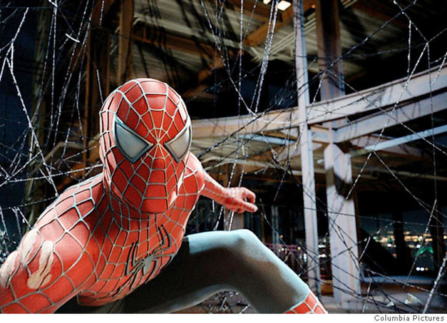 An undated publicity handout photograph shows the Spider-Man character in a scene from the upcoming film 'Spider-Man 3' which stars Tobey Maguire as Spider-Man. REUTERS/Columbia Pictures/Handout NO SALES NO ARCHIVES EDITORIAL USE ONLY  Ran on: 04-29-2007 Ran on: 06-03-2007  &quo;Spider-Man 3&quo;: Big press junket brings good reviews? Photo: HO