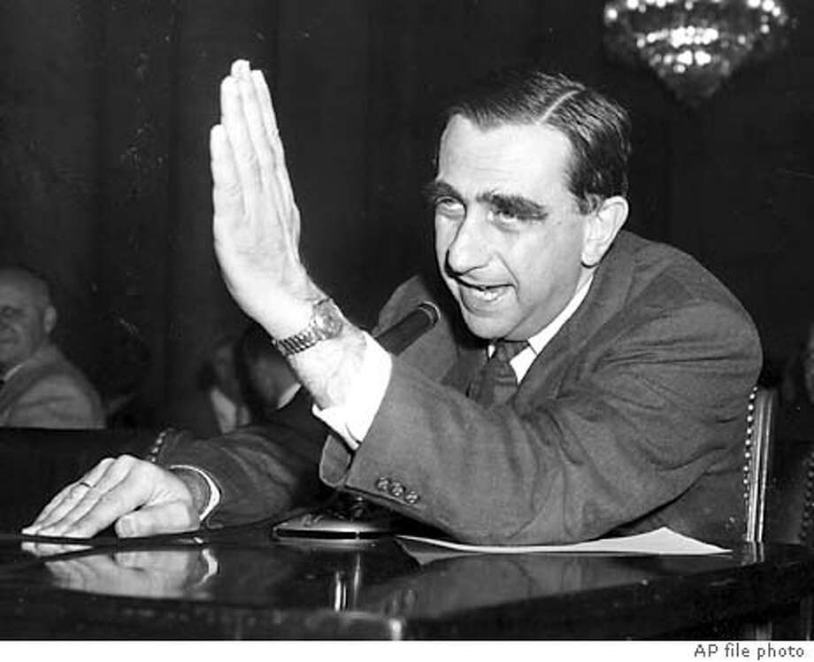 ** FILE ** Dr. Edward , University of California scientist, gestures as he testifies as the first witness at the Senate Armed Services preparedness subcommittee opening hearings on missile development in Washington, D.C., Nov. 25, 1957. , who played a key role in U.S. defense and energy policies for more than half a century and was dubbed the ``father of the H-bomb'' for his enthusiastic pursuit of the powerful weapon, died Tuesday, Sept. 9, 2003 a spokesman for Lawrence Livermore Laboratory said. He was 95. (AP Photo/File)