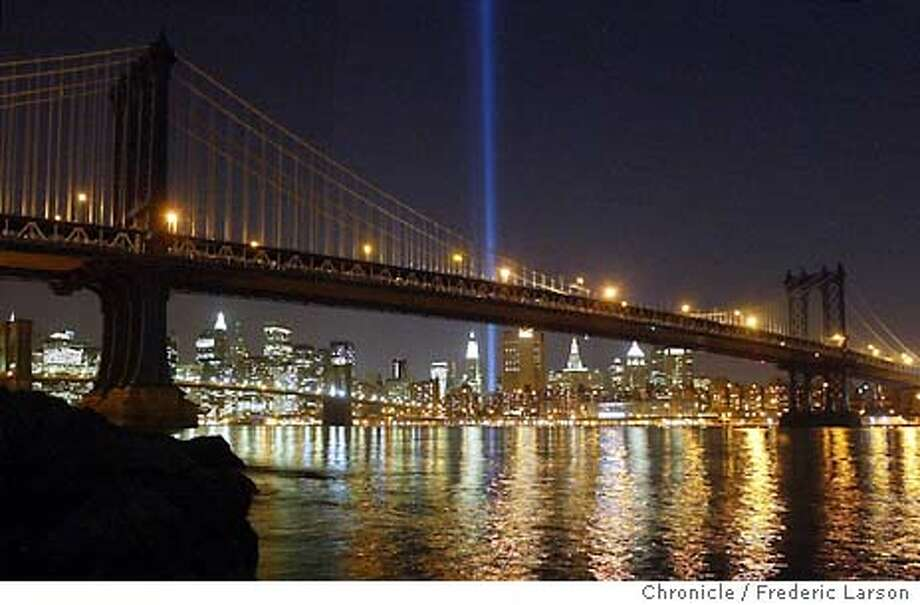 The Twin Tower lights looking back from Brooklyn to the location where the Twin Tower once stood two year ago before the attacks. New York City 09/10/03 FREDERIC LARSON / The Chronicle Photo: FREDERIC LARSON