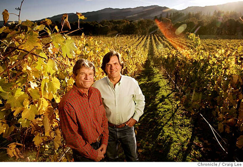 For Winemakers of the Year package. Photo of Paul Dolan and Tim Thornhill, partners of the Mendocino Wine Company and Parducci Winery.  Event on 11/17/05 in Ukiah. Craig Lee / The Chronicle Photo: Craig Lee