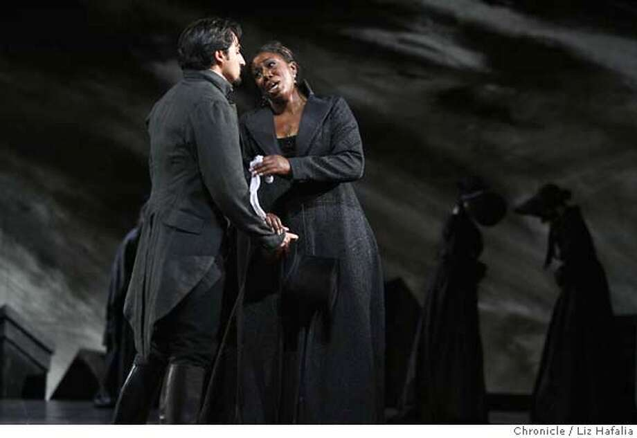 DON_LH_117.JPG Hope Briggs (right) plays Donna Anna and Charles Castronovo (left) plays Don Ottavio in Mozart's Don Giovanni. SF Opera opens its summer season with Mozart's Don Giovanni. Photographed by Liz Hafalia/The Chronicle/San Francisco/5/31/07  **Hope Briggs, Donna Anna, Charles Castronovo, Don Ottavio cq MANDATORY CREDIT FOR PHOTOGRAPHER AND SAN FRANCISCO CHRONICLE/NO SALES-MAGS OUT Photo: Liz Hafalia
