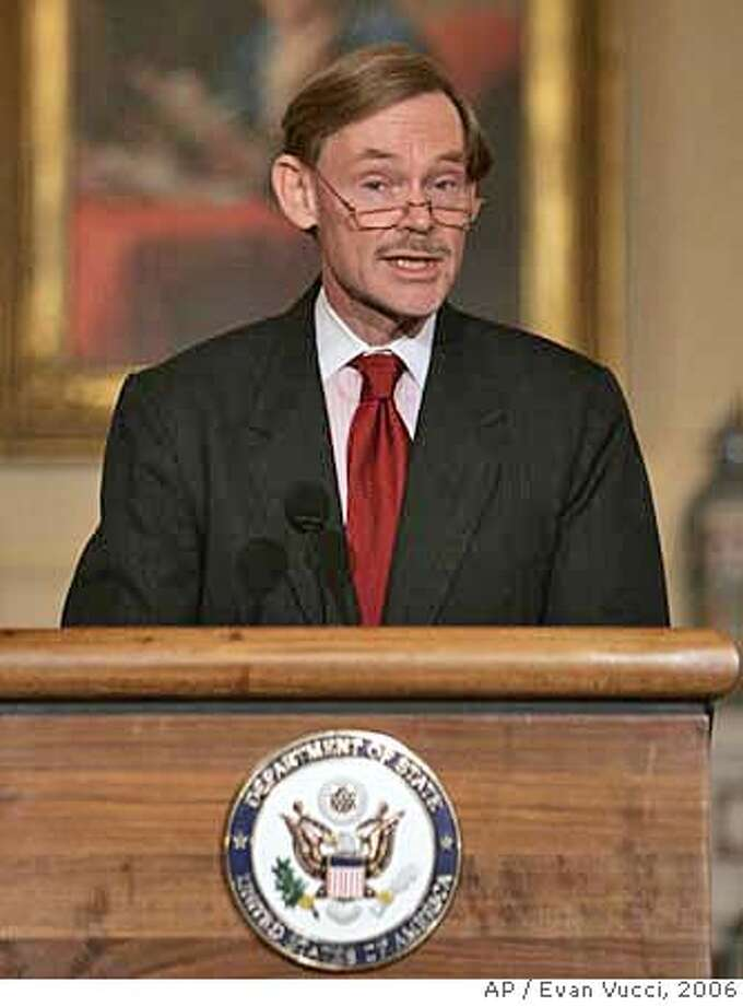 ** FILE ** Then-Deputy Secretary of State Robert Zoellick announces his resignation at the State Department in Washington, in this June 19, 2006 file photo. A senior administration official says President Bush has chosen Zoellick, to lead the World Bank.(AP Photo/Evan Vucci) JUNE 19, 2006 FILE PHOTO Photo: Evan Vucci