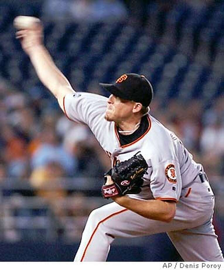 San Francisco Giants pitcher Kevin Correia delivers against the San Diego Padres in the first inning Tuesday, Sept. 9, 2003, in San Diego. (AP Photo/Denis Poroy) Photo: DENIS POROY