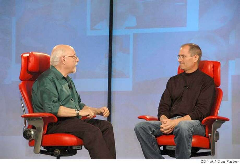 � Caption: Wall Street Journal columnist Walt Mossberg questions Apple Inc. CEO Steve Jobs at the D: All Things Digital conference in Carlsbad (San Diego County) on May 30, 2007 Credit: Dan Farber/ZDNet Photo: Dan Farber