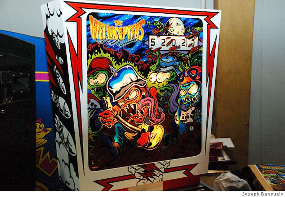 Hellacopters: Air Raid Serenade pinball machine. Art by Dirty Donny Gillies. Contructed by Wade Krause. Photo: Joseph Bansuelo
