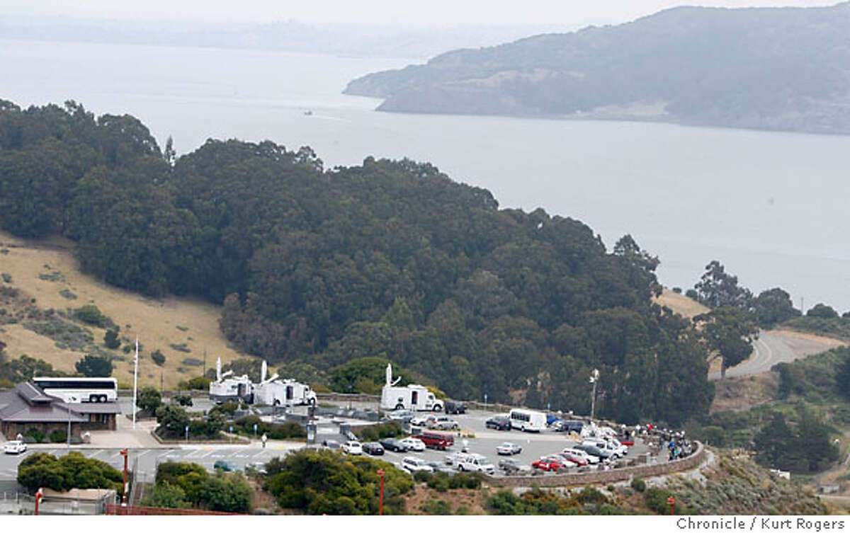 The north side of the Golden Gate Bridge's vista point where television trucks are parked and looking for two whales that yesterday were only a short distance from the pacific ocean. There is no sign of the Two this morning. WEDNESDAY, MAY 30, 2007 KURT ROGERS SAUSALITO SFC THE CHRONICLE