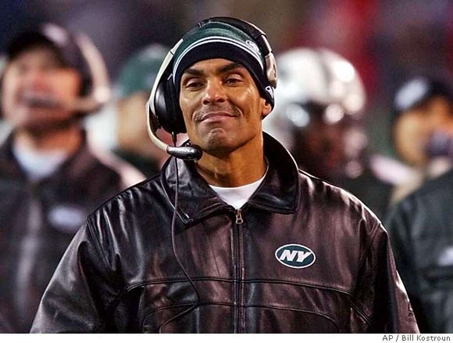 New York Jets coach Herman Edwards smiles during the second quarter against the Indianapolis Colts during the AFC wild card game at Giants Stadium Saturday, Jan. 4, 2003, in East Rutherford, N.J. (AP Photo/Bill Kostroun) CAT Photo: BILL KOSTROUN